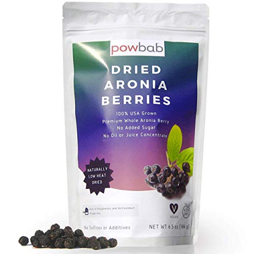 powbab Dried Aronia Berries from 100% USA Grown Organic Aronia Cherries No Added Sugar Not Freeze Dried Not Frozen Made in the USA Whole Black Chokeberry for Immune System and Circulation 65 oz