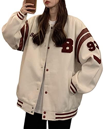 Minetom Damen Jacken College Cargo Jacke Baseball Sportjacke Sweatjacke Patchwork Hoodies Mantel Streetwear Z7 Beige M