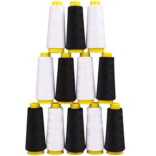 Kurtzy Set de Hilos Blanco y Negro Poliéster Máquina de Coser (Pack de 12) 11,5 cm con 900 Metros de Hilo – Kit de Bobinas de Hilo 2 Colores Coser a Mano y a Máquina - Cono de Hilo