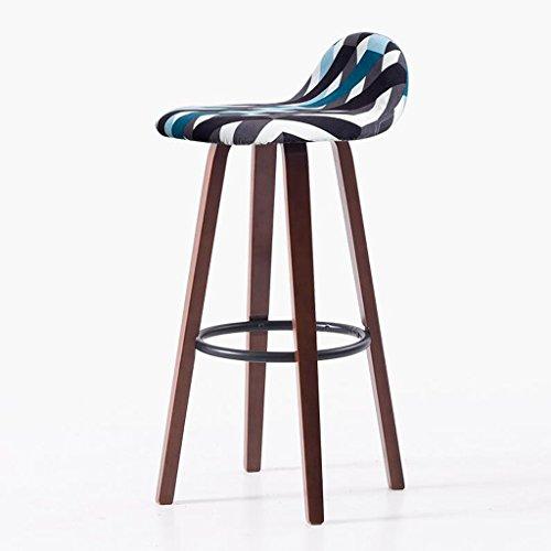 Rollsnownow Coussin ondulé noir et bleu Cadre en bois marron Chaise de bar Fauteuil Tabouret de bar Tabouret haut Tabouret haut