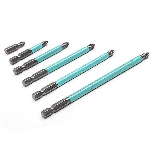 Lot de 6 embouts de tournevis hexagonaux antidérapants et magnétiques Torx PH2 25, 50, 70, 90, 100, 125 mm