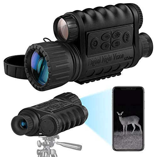 Bestguarder Digital Widescreen Night Vision Monocular with WiFi, HD Infrared IR Camera & Camcorder with 32GB SD Card for Hunting