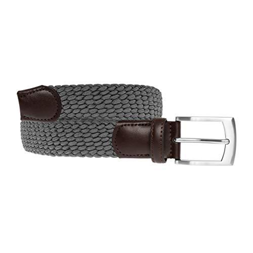 LUUK LIFESTYLE Hochwertiger, elastischer, geflochtener Stretch-Gürtel mit echtem Premium Vollrindleder, Flechtgürtel, Stoffgürtel für Damen und Herren, Geschenkbox, grau, 105 cm