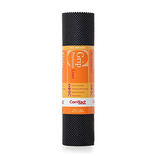 """Con-Tact Brand Grip Premium Non-Adhesive Shelf and Drawer Liner, 18"""" x 10', Black"""