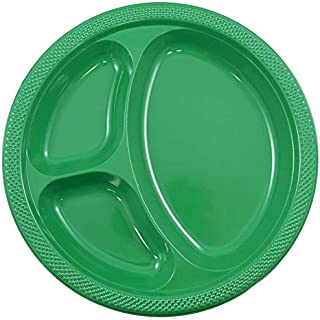 10-Inch 3 Compartment Disposable Plastic Round Plates BPA-Free, Green (Pack of 25 Plates)