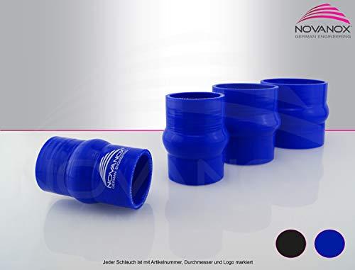 NovaNox German Engineering® Raccord de bourrelet en silicone - 1 compartiment intérieur de 76 mm - Bleu - Tuyau universel en silicone - Pour turbo - Épaisseur de paroi : 5 mm - Diamètre : 76 mm