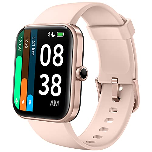 YONMIG Smartwatch, 1,69 Zoll Touch-Farbdisplay Uhr Alexa Integration Fitness Armband Tracker Damen Pulsmesser IP68/5ATM Wasserdicht Schrittzähler Stoppuhr Schlafmonitor Armbanduhr Bluetooth 5.0