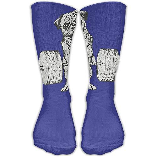 Haloxa Socken Mops Gewichtheben Damen & Herren Socken Fußball Socke Sport Tube Strümpfe Länge 11,8 Zoll