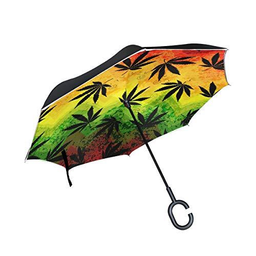 RXYY Paraguas invertido plegable de doble capa a prueba de viento con hoja de marihuana geométrica, impermeable para protección contra la lluvia, coche, viajes al aire libre, hombres y mujeres
