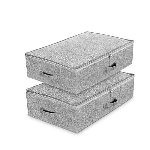 Lot de 2 Sac de Rangement sous lit en tissu cationique respirant,Boîtes pliables de Rangement avec couvercle et poignée pour les vêtements,couvertures etc.(gris)