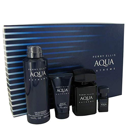 Set Perry Ellis Aqua Extreme 4Pzs 100 ml Edt Spray + Shower Gel 50 ml + Desodorante 200 ml Spray + 7.5 ml Edt Spray de Perry Ellis