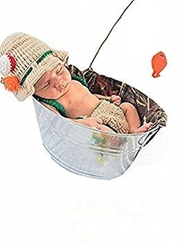 Pinbo Baby Photography Prop Crochet Fishing Fisherman & Fish Hat Diaper Shoes
