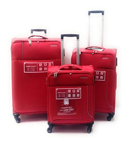 Set tre Trolley semirigido 4 ruote con Trolley bagaglio low cost a mano Easyjet Clacson (ROSSO)