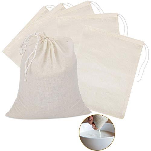 TANCUDER 6 PCS Filterbeutel Baumwollstoff Pressbeutel Stofftasche mit Tunnelzug Baumwolltasche Klein Musselin Beutel Natürlicher Filtersäcke für Straining Obst, Butter, Wein, Milchfilter (40 * 50cm)