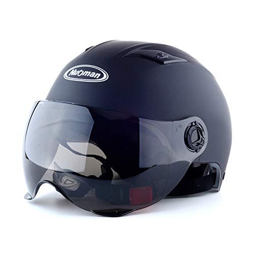 Casco de Moto eléctrica para Hombre y Mujer, Medio Casco Anti-vaho con Doble Espejo de Cuatro Estaciones, Casco de Invierno con Cubierta Completa