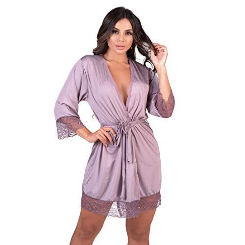 Robe Feminino em Microfibra Premium Diário Íntimo (G, Lilás)