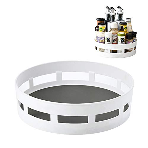 Lazy Susan Plastic Rotating Storage Rack to Organize Pantry Cabinet and Refrigerator, Anti-Slip Turntable with Deep Sidewall And Handles-2 Pack