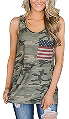 DUTUT Womens 4th of July American Flag Camo Tank Top USA Pride Racerback T-Shirt Tops with Pocket