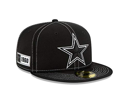 New Era NFL Dallas Cowboys Authentic Black 2019 Sideline 59FIFTY Road Cap, Größe :7 1/8