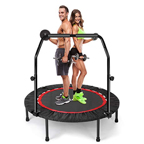 "Sposuit 40"" Foldable Mini Trampoline, Portable Fitness Trampoline with Adjustable Handle bar, for Kids Adults Play & Exercise Indoor or Outdoor, Rebounder Trampoline for Jump Sports Max Load 330lbs"