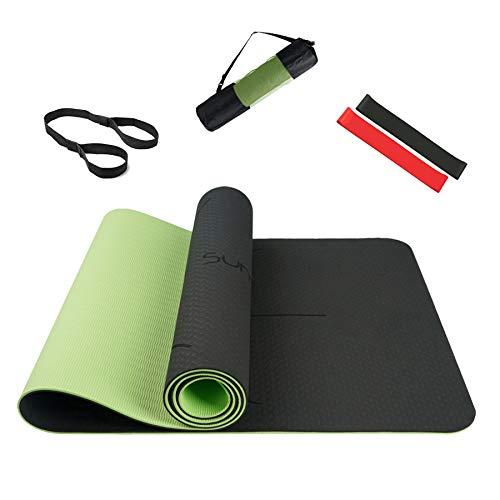 Summer Mae Tappetino Yoga Antiscivolo, Yoga Mat TPE da 5 mm a Doppia Faccia, Fitness Pilates e Ginnastica 183 × 61 cm Verde/Nero