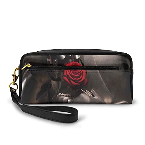 Pencil Case Large Capacity Pen Pouch Stationery Foldable,Portrait Of Knight In Armor Holding Rose In Dark Hero Love Romantic Design,with Zipper for Teens and Adults