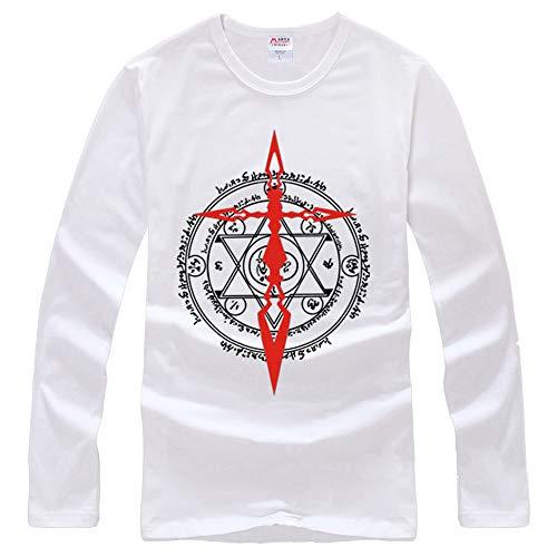 Fate/Grand Order Maglietta Moda Uomo 110% Cotone Leggero Girocollo in Bianco Maglietta a Maniche Lunghe T Shirt Top a Maniche Lunghe Unisex (Color : A01, Size : L)