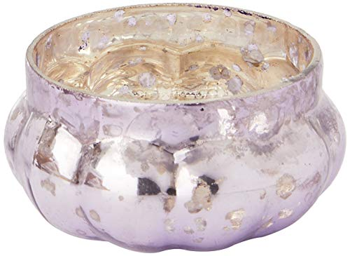 Insideretail-Portacandela a Forma di Zucca, Effetto Anticato, Vetro, Colore: Lilla, 5 x 5 cm, Confezione da 12