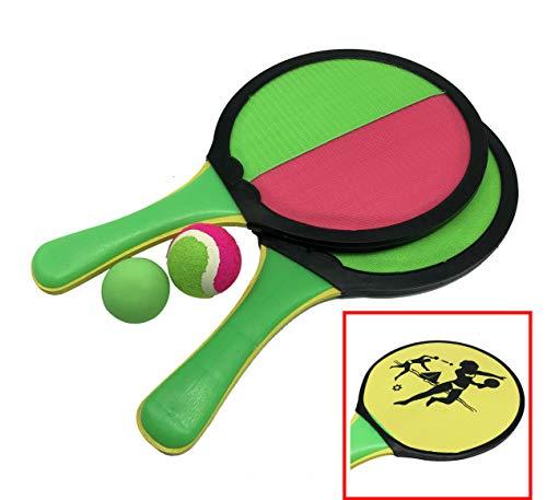 Beach Paddle 2er Set Doppelseitig - Strand Kinder Tennischläger/Klettschläger aus Holz (Farbe: Pink) mit 2X Ball passend für Pools, Meer, Strand