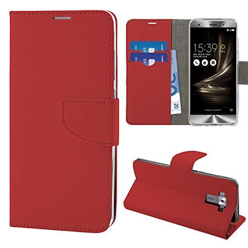 """N NEWTOP Cover Compatibile per ASUS Zenfone 3 Deluxe ZS570KL 5.7"""", HQ Lateral Custodia Libro Flip Chiusura Magnetica Portafoglio Simil Pelle Stand (Rosso)"""