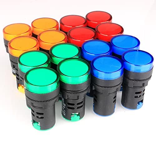 GUUZI 16 Piezas 220V-380V 20mA Luz Indicadora LED de Ahorro de Energía Tamaño del Orificio de Montaje 22 mm Verde/Amarillo/Rojo/Azul (cada 4 Piezas)