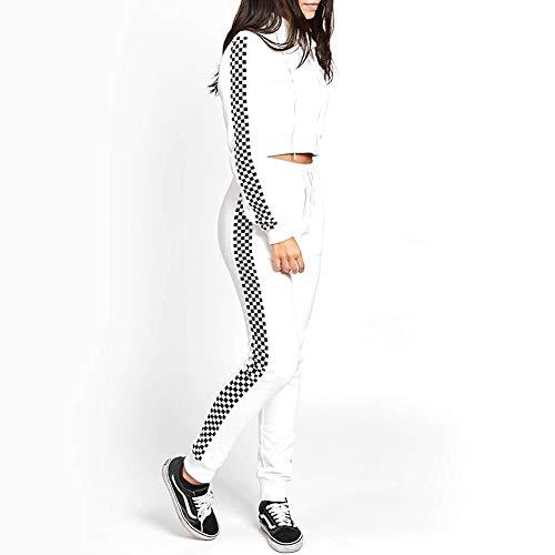 XYAIPR Sports Suit, dames, zwart en wit geruite rits vest trui + casual broek