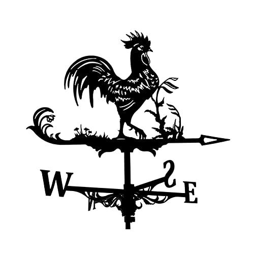 Dyna-Living Wetterhahn,rostfreier Stahl Windfahne,Deko-Wetterfahne,Wetterfahne im Antik Stil,Garten Deko schwarz. (Hühner)