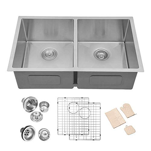 Undermount Kitchen Sink Double Bowl - Lordear 32 Inch...