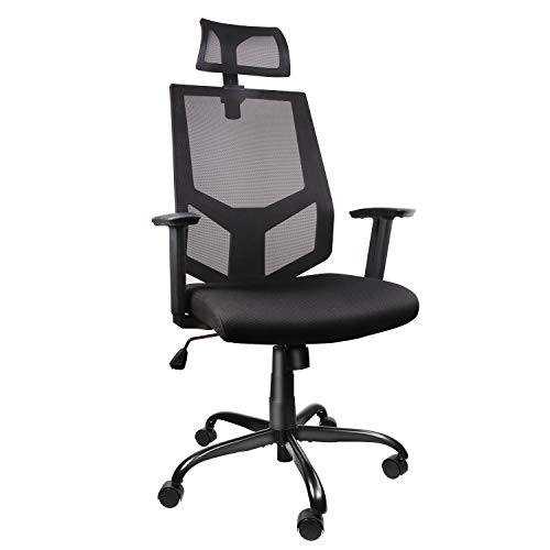 High Back Ergonomic Office Chair Mesh Desk Chair with Adjustable Headrest/Neck Support Computer Task Chair Dark Black