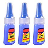 Mighty Multi-Purpose 401 Adesivo Istantaneo Super Colla, Adesivo Colorato Trasparente per Tutti Gli Usi Forte, per Scarpe In Gomma Plastica Legno di Porcellana Ceramica 20g (3 Pezzi)