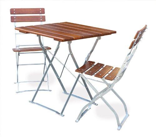 EuroLiving Biergartengarnitur 1x Tisch 70x70 cm & 2X Stuhl Edition-Classic Ocker/verzinkt