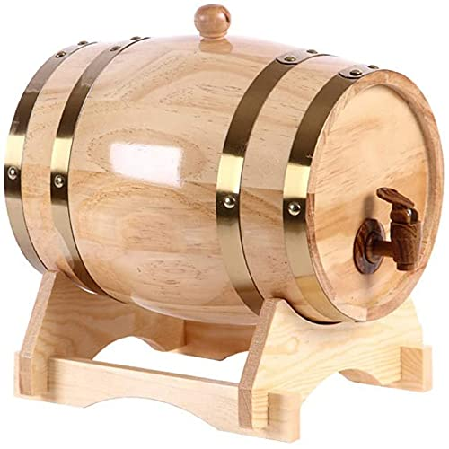 Barril de whisky, barril de vino de madera de roble de madera vintage para whisky de cerveza, barril decorativo de hotel de puerto de elaboración de ron-1.5l