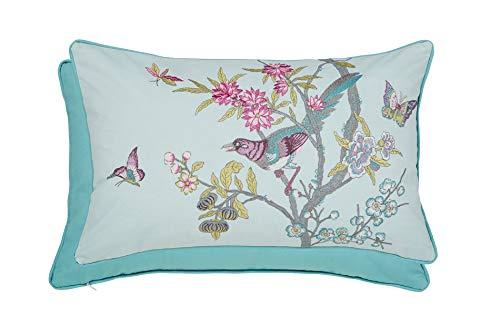 V&A - Cojín, satén de algodón, Color Aguamarina, 50 x 30 cm