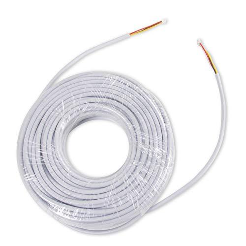 TMEZON 30M RVV4 Kabel 4-Draht-Kabel für Video-Türsprechanlage Türklingel Intercom Türklingel verdrahtete Intercom Kabelverlängerungskabel, weiß
