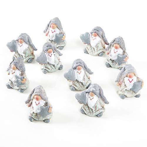 Logbuch-Verlag 10 kleine Mini Wichtel grau weiß mit Herz + Stern 4 cm Wichtelgeschenk Weihnachtsdeko Nikolausgeschenk f. Kinder Kunden Freunde Deko Weihnachten