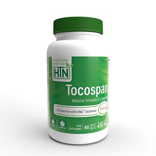 Tocospan Vitamina-E (contiene Tocotrienoles EVNOL™) Complejo de Tocotrienoles y tocoferoles de espectro completo de 400 UI (8 formas naturales de vitamina E) 60 cápsulas blandas (60)