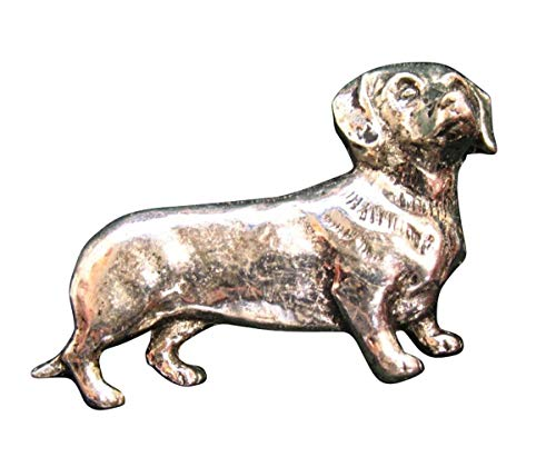 Brazil Lederwaren Ansteckpin Dackel | für den Hut oder das Revers | Perfekt für Hunde-Liebhaber | Anstecker Pin Button | Altsilber