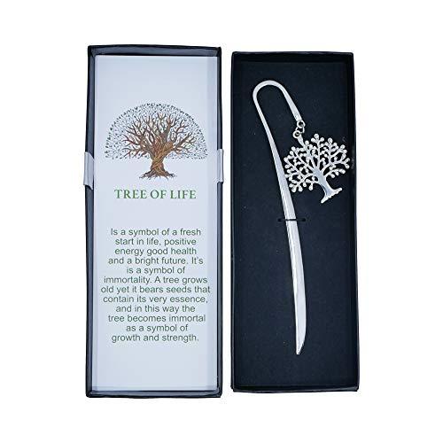 SincerelyForYou – Segnalibro a forma di albero della vita in metallo, regalo per nonna, mamma, regalo per donne per sorelle, insegnanti, scuola, regalo di Natale , idea regalo per ricordo (argento)