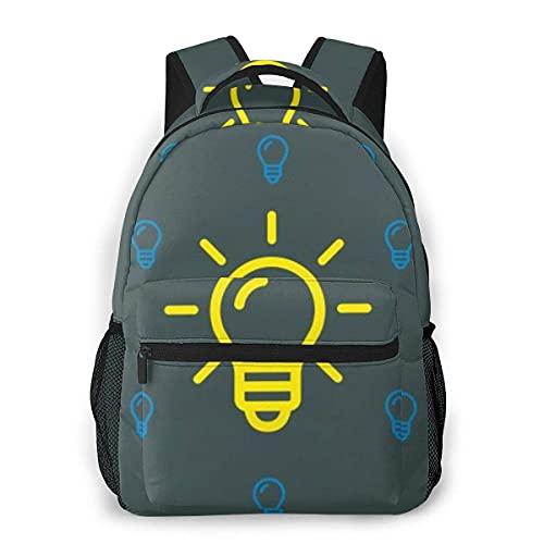 Lawenp Mochila Unisex de Moda Mochila con Bombilla Amarilla y Azul Mochila Ligera para portátil para Viajes Escolares Acampar al Aire Libre