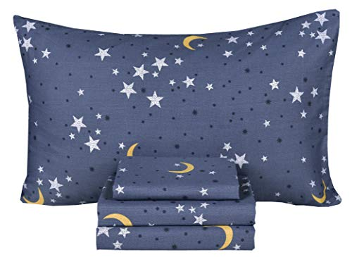 Moon & Star Night Sky Teen Boys Girls 100% Cotton 4 Pcs Full Bed Sheet Set, Flat Sheet & Fitted Sheet & Pillowcase Kids Bedding Set (Stars, Full)