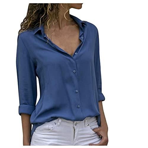 TYTUOO Tops de moda para mujer, estilo casual, enrollado, manga larga, cuello en V, para mujer, sueltos,...