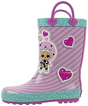 L.O.L Surprise! Girls Rainboots Fancy and Fresh 100% Rubber Waterproof with Easy-on Handles Purple Pink Big Kid Size 13/1