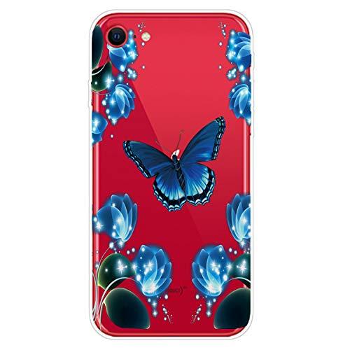 SEEYA - Carcasa de silicona para iPhone SE 2020, diseño de mariposa de cristal transparente TPU suave y flexible, a prueba de golpes, delgada, carcasa para iPhone SE 2020