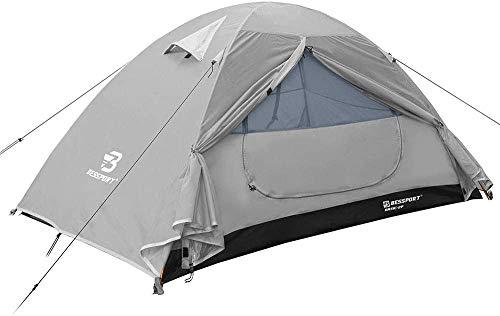 Bessport Zelt 2 Personen Ultraleichte Camping Zelte 3-4 Saison Kuppelzelt Kleines Packmaß, Wasserdicht PU 3000mm, Rucksack Zelt Einfach Sofortiges Aufstellen für Trekking, Outdoor, Festival (Grey)